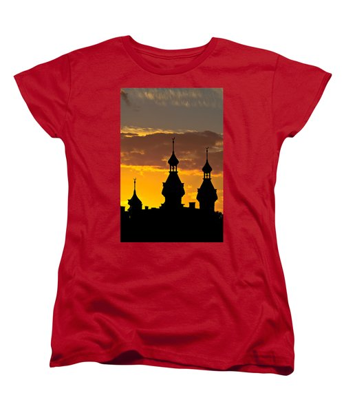 Women's T-Shirt (Standard Cut) featuring the photograph Tampa Bay Hotel Minarets At Sundown by Ed Gleichman