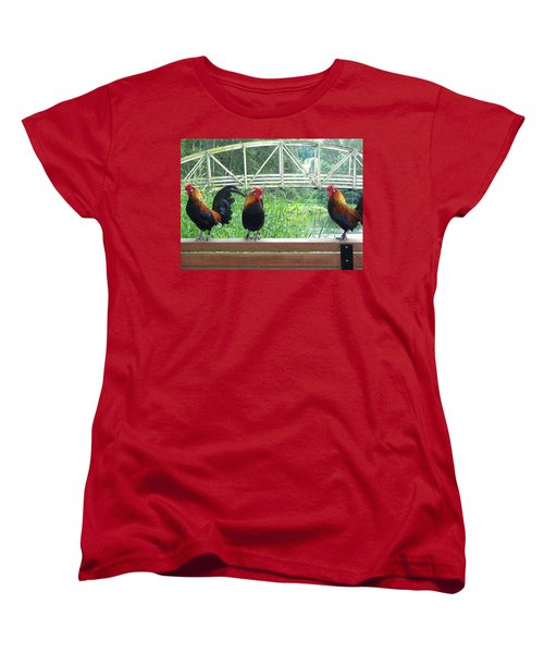 Women's T-Shirt (Standard Cut) featuring the photograph Three Roosters  by Peter Mooyman