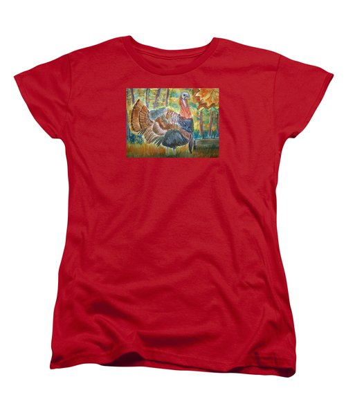 Women's T-Shirt (Standard Cut) featuring the painting Turkey In Fall by Belinda Lawson