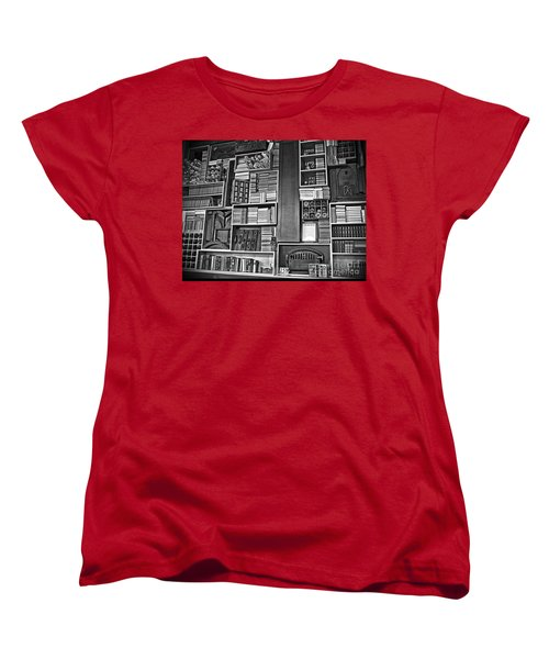 Women's T-Shirt (Standard Cut) featuring the photograph Vintage Bookcase Art Prints by Valerie Garner