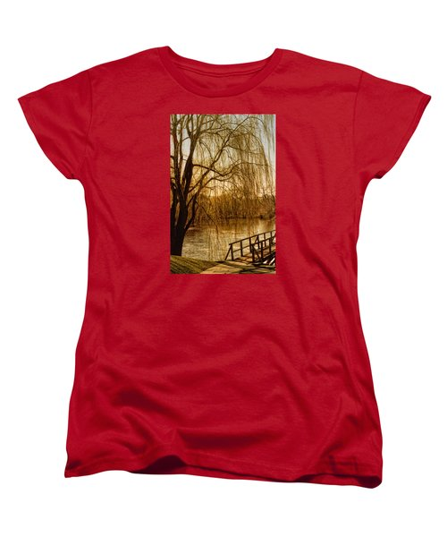 Women's T-Shirt (Standard Cut) featuring the photograph Weeping Willow And Bridge by Barbara Middleton