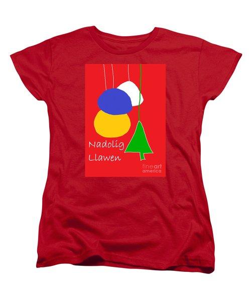 Welsh Christmas Card Women's T-Shirt (Standard Cut) by Barbara Moignard