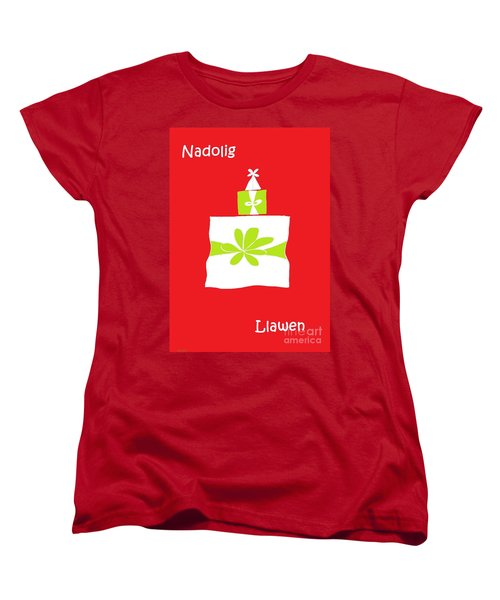 Women's T-Shirt (Standard Cut) featuring the digital art Welsh Merry Christmas Red by Barbara Moignard