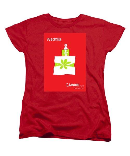 Welsh Merry Christmas Red Women's T-Shirt (Standard Cut) by Barbara Moignard