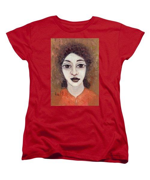 Woman With Large Dark Brown Eyes And Hair Orange Shirt Dark Eyebrows  Women's T-Shirt (Standard Cut) by Rachel Hershkovitz