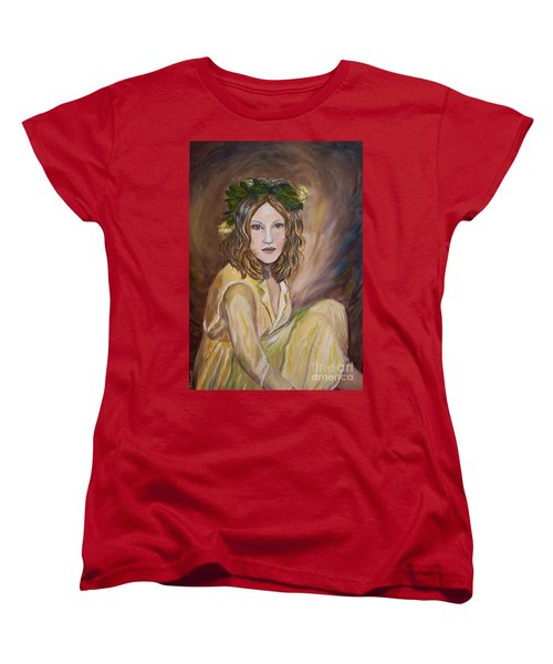Women's T-Shirt (Standard Cut) featuring the painting Yellow Rose by Julie Brugh Riffey