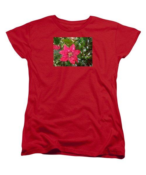 Christmas Poinsettia Women's T-Shirt (Standard Cut) by Sharon Duguay