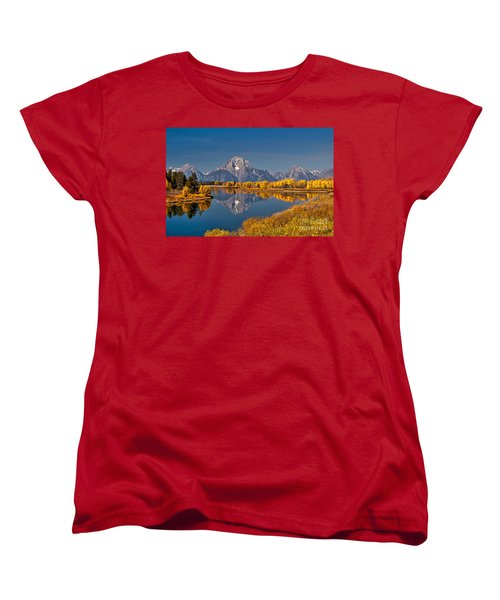 Fall Colors At Oxbow Bend In Grand Teton National Park Women's T-Shirt (Standard Cut) by Sam Antonio Photography