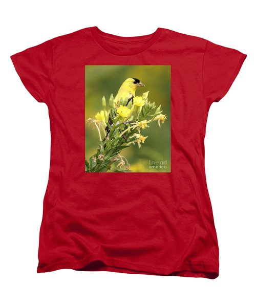 Women's T-Shirt (Standard Cut) featuring the photograph  Goldfinch by Debbie Stahre