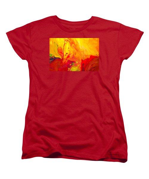 Melancholy - Abstract Warm Mixed Media Painting Women's T-Shirt (Standard Cut) by Modern Art Prints