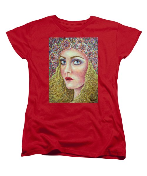 Women's T-Shirt (Standard Cut) featuring the painting   The Flower Girl by Natalie Holland