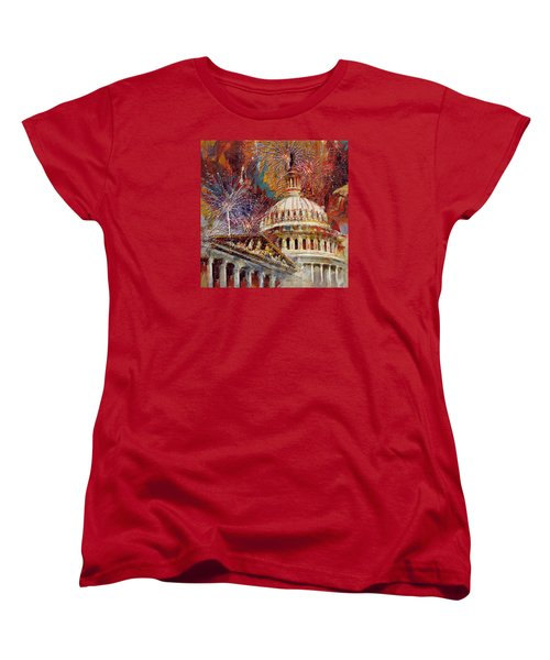 070 United States Capitol Building - Us Independence Day Celebration Fireworks Women's T-Shirt (Standard Cut) by Maryam Mughal