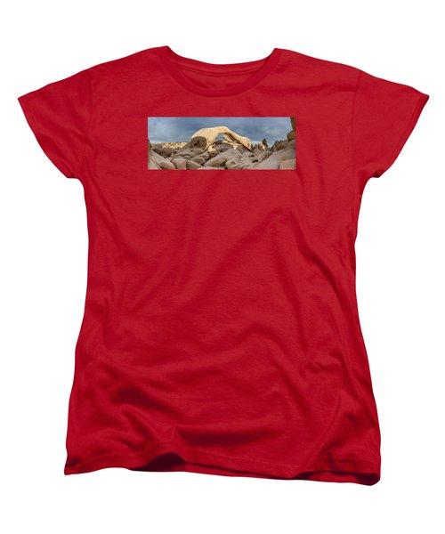 Arch Rock Panorama In Joshua Tree Women's T-Shirt (Standard Cut) by Joe Belanger
