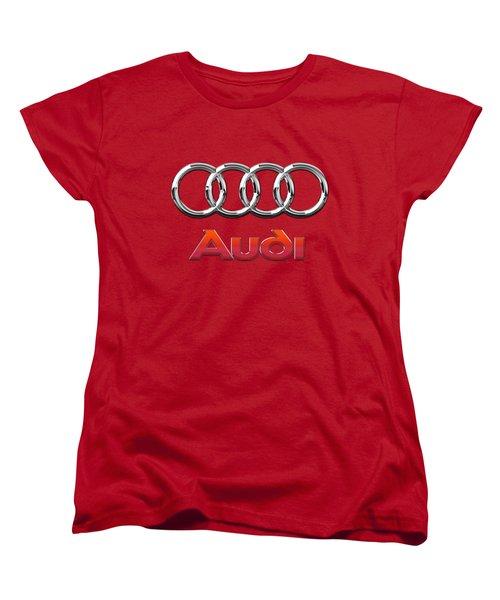 Audi - 3d Badge On Red Women's T-Shirt (Standard Cut)