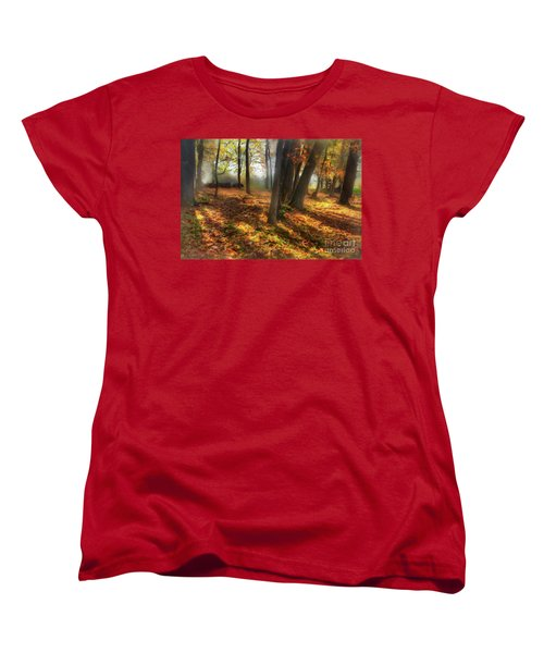 Women's T-Shirt (Standard Cut) featuring the painting Autumn Shadows In The Blue Ridge Ap by Dan Carmichael