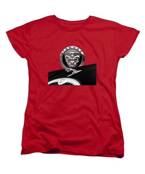 Black Jaguar - Hood Ornaments And 3 D Badge On Red Women's T-Shirt (Standard Cut) by Serge Averbukh