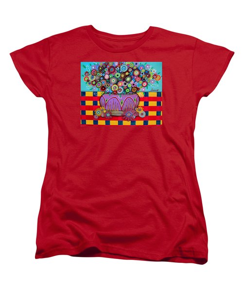 Women's T-Shirt (Standard Cut) featuring the painting Blooms by Pristine Cartera Turkus