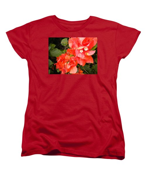 Women's T-Shirt (Standard Cut) featuring the painting Bouganvilla 1 by Renate Nadi Wesley