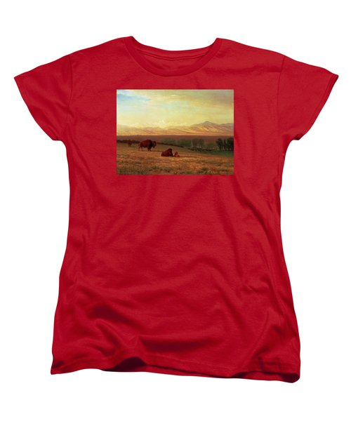 Buffalo On The Plains Women's T-Shirt (Standard Cut) by MotionAge Designs