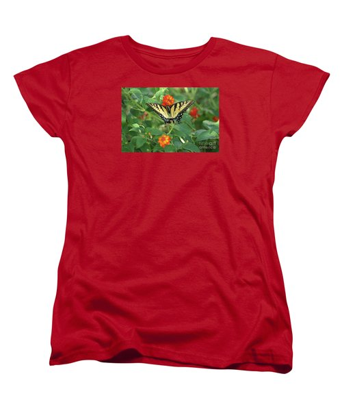 Butterfly And Flower Women's T-Shirt (Standard Cut) by Debra Crank
