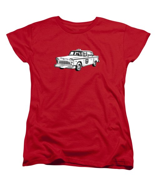Checkered Taxi Cab Illustrastion Women's T-Shirt (Standard Cut) by Keith Webber Jr