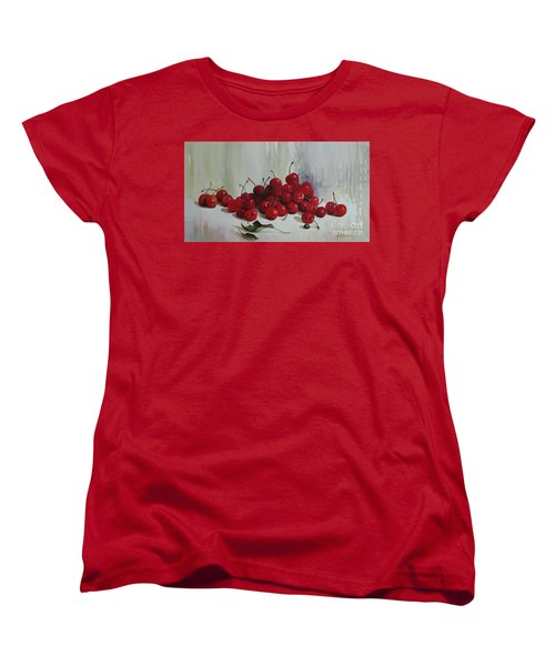 Women's T-Shirt (Standard Cut) featuring the painting Cherries by Elena Oleniuc