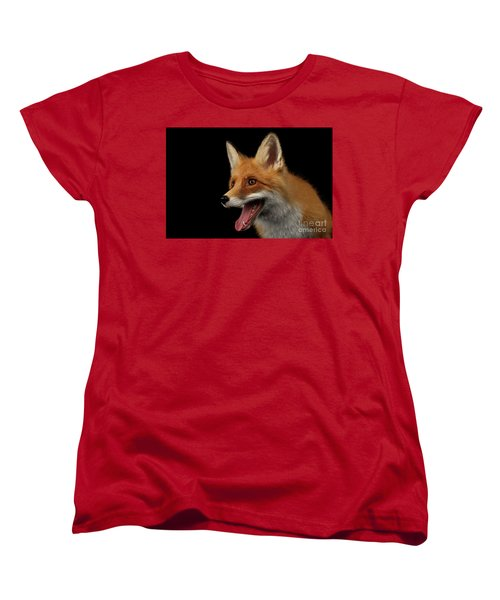 Closeup Portrait Of Smiled Red Fox Isolated On Black  Women's T-Shirt (Standard Cut) by Sergey Taran