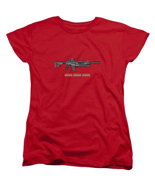 Colt  M 4 A 1  S O P M O D Carbine With 5.56 N A T O Rounds On Red Velvet  Women's T-Shirt (Standard Cut) by Serge Averbukh