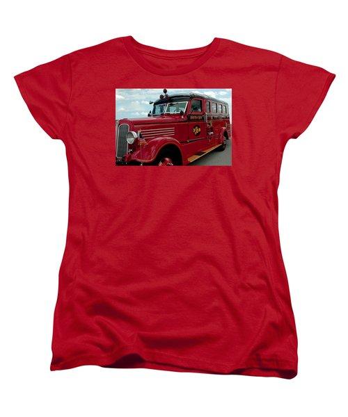 Detroit Fire Truck Women's T-Shirt (Standard Cut) by LeeAnn McLaneGoetz McLaneGoetzStudioLLCcom