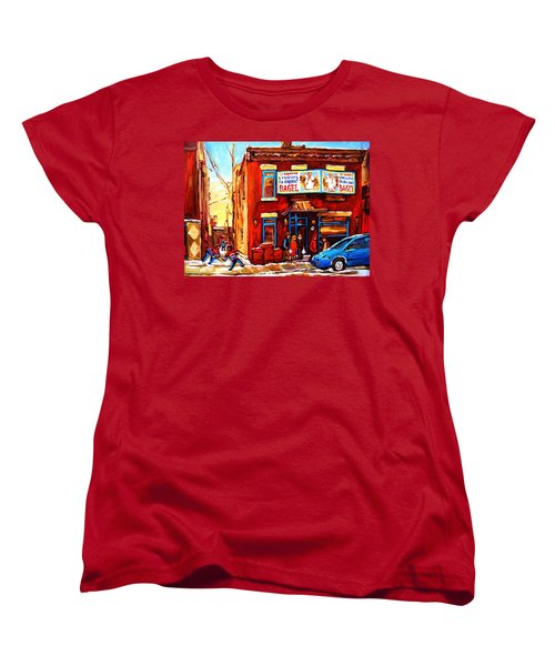 Fairmount Bagel In Winter Women's T-Shirt (Standard Cut) by Carole Spandau