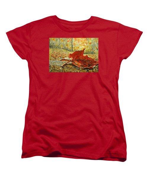 Fallen Leaf  Women's T-Shirt (Standard Cut) by Betty-Anne McDonald