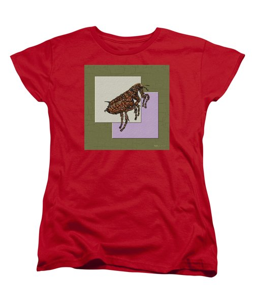 Flea On Abstract Beige Lavender And Dark Khaki Women's T-Shirt (Standard Cut) by Serge Averbukh