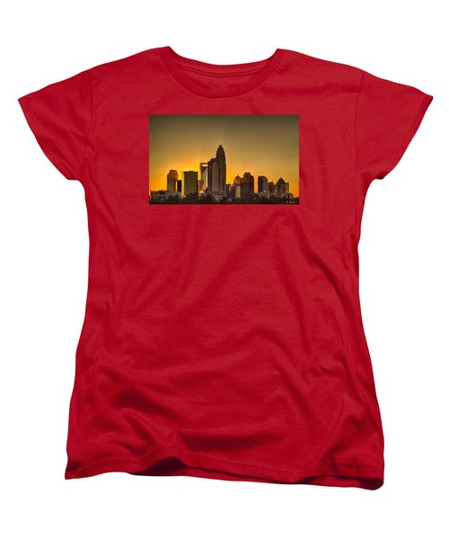 Golden Charlotte Skyline Women's T-Shirt (Standard Cut) by Alex Grichenko