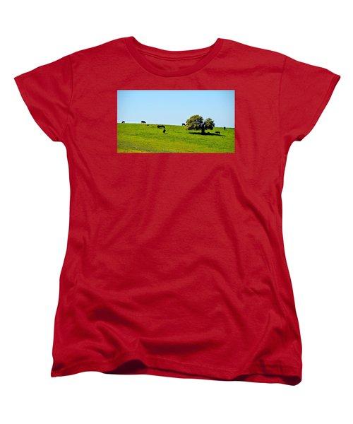 Women's T-Shirt (Standard Cut) featuring the photograph Grazing In The Grass by AJ Schibig