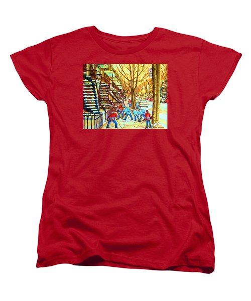 Women's T-Shirt (Standard Cut) featuring the painting Hockey Game Near Winding Staircases by Carole Spandau