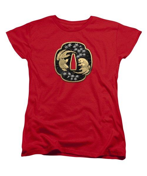 Japanese Katana Tsuba - Twin Gold Fish On Black Steel Over Red Velvet Women's T-Shirt (Standard Cut)