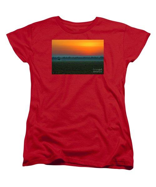 Women's T-Shirt (Standard Cut) featuring the photograph Masai Mara Sunrise by Karen Lewis