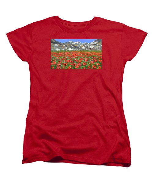 Women's T-Shirt (Standard Cut) featuring the painting Mountain Poppies  by Dmitry Spiros