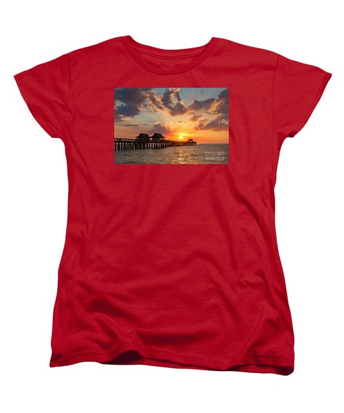 Women's T-Shirt (Standard Cut) featuring the photograph Naples Pier At Sunset by Brian Jannsen