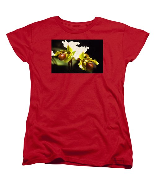 Women's T-Shirt (Standard Cut) featuring the mixed media Paphiopedilum Orchid by Rosalie Scanlon