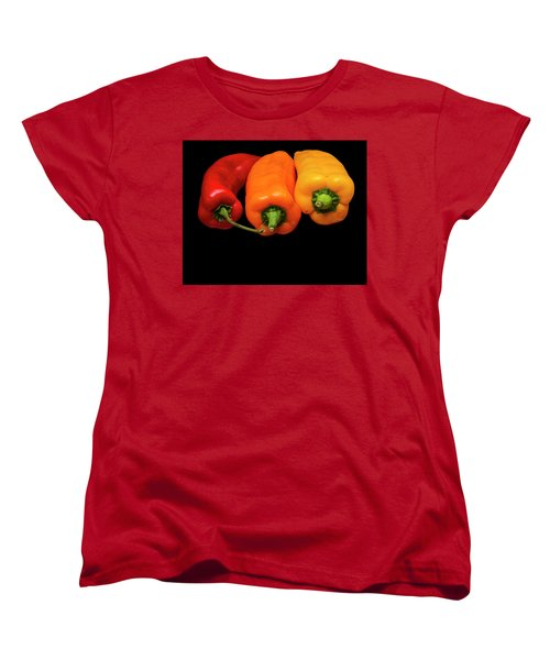 Women's T-Shirt (Standard Cut) featuring the photograph Peppers Red Yellow Orange by David French