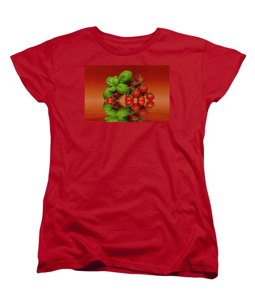 Women's T-Shirt (Standard Cut) featuring the photograph Plum Cherry Tomatoes Basil by David French