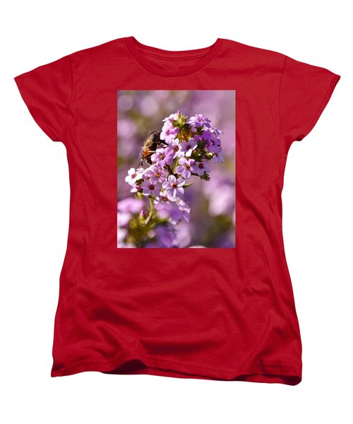 Purple Blossoms And Hoverfly Women's T-Shirt (Standard Cut) by Werner Lehmann