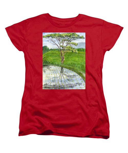 Women's T-Shirt (Standard Cut) featuring the painting Rain Tree On The Way To Ubud Bali Indonesia by Melly Terpening