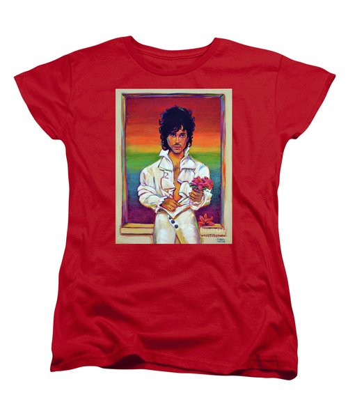 Women's T-Shirt (Standard Cut) featuring the painting Rainbow Child by Robert Phelps