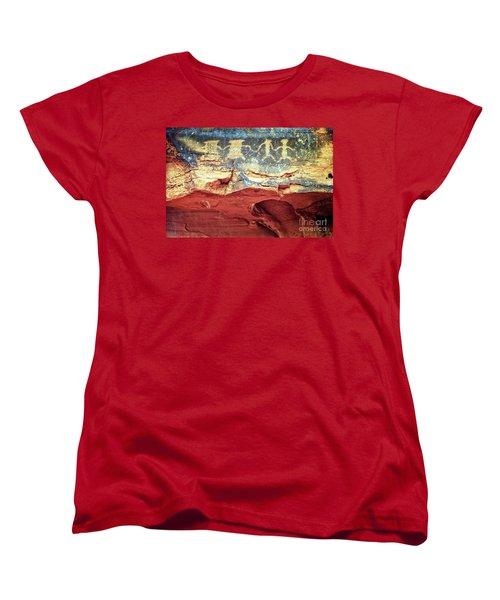 Red Rock Canyon Petroglyphs Women's T-Shirt (Standard Cut) by Jim and Emily Bush