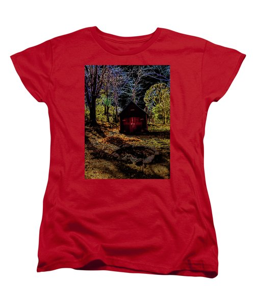 Women's T-Shirt (Standard Cut) featuring the photograph Red Shed by Randy Sylvia