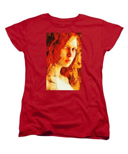 Women's T-Shirt (Standard Cut) featuring the digital art Redhead by Gun Legler