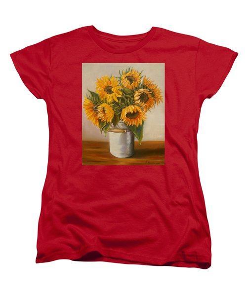 Women's T-Shirt (Standard Cut) featuring the painting Sunflowers by Nina Mitkova