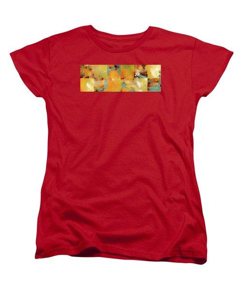 Sunset Abstract Tiles. Modern Mosaic Tile Art Painting Women's T-Shirt (Standard Cut) by Mark Lawrence